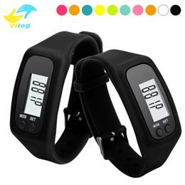 Wholesale Female Silicone Bracelets - Digital LED Pedometer Run Step Walking Distance Calorie Counter Watch Fashion Design Bracelet Colorful Silicone Pedometer