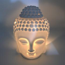 2019 weihrauchspulen großhandel Keramik-Öl-Brenner Buddha-Kopf Aroma Ätherisches Öl Weihrauch Buddha tibetischen Räuchergefäss H Diffusor