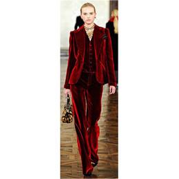 Disfraz de mujer de oficina online-Trajes ElePant de terciopelo rojo vino trajes para mujeres Trajes de negocios de oficina Trajes de trabajo formal 3 piezas conjuntos de uniformes de oficina Estilos