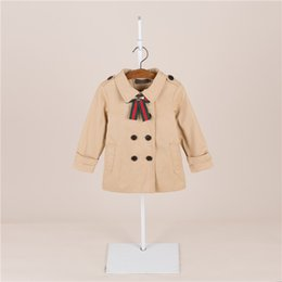 Wholesale Korean Clothing For Kids - 2018 kids clothes Children's windbreaker Korean children's jacket high-quality double breasted trench coat for girls