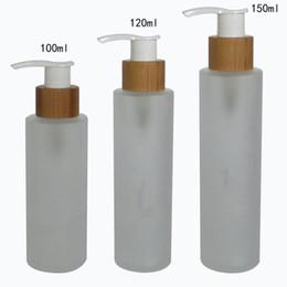 Prensa de aceite esencial online-Botellas de vidrio de aceite esencial de 150 ml con tapa de prensa de bambú Tapa de vidrio esmerilado Botella de prensa de aceite de esencia