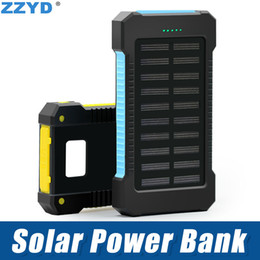 Wholesale Waterproof Usb Charger - ZZYD Portable Universal 6000mAh Solar Power bank External Battery Pack Dual USB Waterproof Phone Charger For iP 7 8 Samsung S8 Note 8