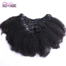 La magie des cheveux bouclés en Ligne-Afro Kinky Bouclés Clip Dans Extensions de Cheveux Humains Remy Brésiliens Cheveux 100% Humains Cheveux Naturels Clip Ins Bundle 100G 120G Ali Magic Factory
