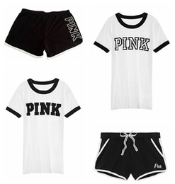 Wholesale Ladies Suit Pants Shirt - Ladies Pink Printed running T-Shirts Pink Letter Top T-Shirt+ Sports Pants Girls Casual Short Sleeve Sport Suits Women's Tracksuit LJJG30