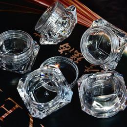 Jarras claras vacías online-Comercio al por mayor 5g (5 ml, 0.17 oz) Clear 100 Unids Cosmético Jar Jar Ojos Sombra de ojos Maquillaje Crema Facial Bálsamo labial Contenedor Caja (Diamante)