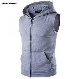 Wholesale Hooded Singlets - 2018 Summer new men bodybuilding Fitness sleeveless vest cotton hooded Tank Tops Men's golds Sweatshirt Hoodies Solid Singlets