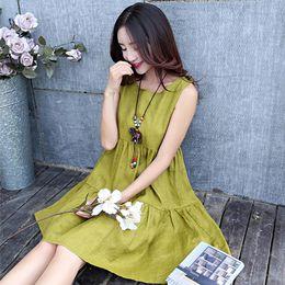 64d564d6f 2018 verano nueva moda de estilo coreano sin mangas de algodón y lino  vestido de mujer embarazada vestido de tanque de maternidad más el tamaño  vestido ...