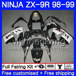 Kawasaki zx9r 1998 schwarz online-Karosserie Für KAWASAKI NINJA ZX 9 R ZX900 ZX9 R Schwarzer Westrahmen ZX9R 98 99 00 220HM.41 ZX 900 900CC ZX 9R 98 99 ZX-9R 1998 1999 2000 Verkleidungssatz