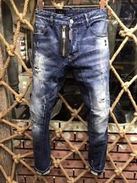 Wholesale Dotted Jeans - 2018 Italy Fashion Brand Men Jeans Hole BLUE ZIPPER Paint Dots fashion Patch Slim D Pants Ripped Denim Jean