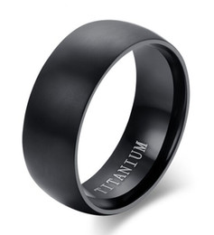 Wholesale Titanium Couple Ring Black - Wedding Ring 8mm simple brushed domed black titanium Ring for Women Men comfort fit hot sale in USA and Europe