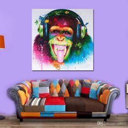 pintura dormitorio principal Rebajas Animal sin marco Draw Core Orangután pintura al óleo sobre lienzo Home Decor moda divertido mono Gorila Designer pintura mural 16kx5 ZZ
