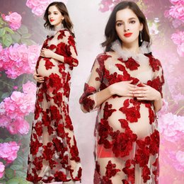 Wholesale Winter Pregnancy Fashion - Red Elegant Women Long Dress Pregnancy Mommy Photography Prop Fashion Lace Embroidery Floral Dress for Photo Shoot Maternity Clothes