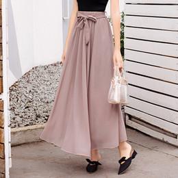2019 fã de chiffon Gordura MM verão novo tamanho grande roupas femininas Han Fan casual cintura alta era fina com saia longa chiffon fã de chiffon barato