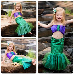 Wholesale Little Girls Mermaid Costumes - baby girls little mermaid set costume bikini swimwear swimsuit outfits dress bathing suit costume kids toddler girls bathing suits