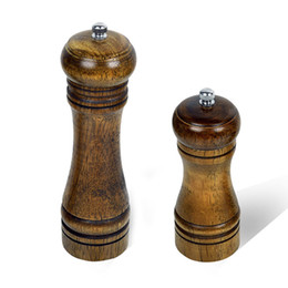 Wholesale Wood Salt Pepper Grinders - High Quality 5 8 Inch Wood Pepper Mill Manual Kitchen Grinder Ceramic Core Grinding Pure natural wood Design Cooking Tools