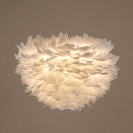 lampade bianche della piuma Sconti Ecolight Led Modern Pendant 3 Lights Lampada a sospensione con cavo in piuma bianca Dia60cm per illuminazione di luminarie da sala da pranzo