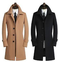Tranchée en cachemire pour hommes en Ligne-Cachemire simple boutonnage laine, manteau de laine pour hommes, plus la taille S pour trench en laine 9XL toute vente avec livraison gratuite