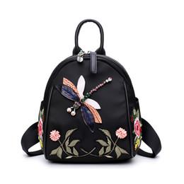 Argentina Bordado a mano nueva moda mujeres mochila para adolescentes Desinger alta calidad Nylon bolsa de hombro negro elegante mochilas femeninas Suministro