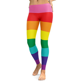 Wholesale color mix pants - Spring Summer Autumn Leggings Printed Women Candy Rainbow Fitness Leggings High Waist Slimming Workout Leggings Sexy Yoga Pants