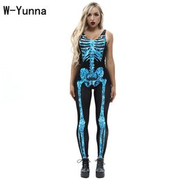 movie vest Promo Codes - W-Yunna Women's Jumpsuits 2018 Hot Sales Green Skull Rack Digital Print Sexy Bodysuits Women Rompers Vest Jumpsuit
