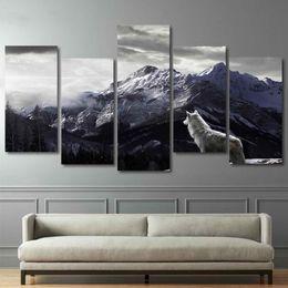 Animais de neve on-line-HD Imprime Arte Da Parede Da Lona Sala de estar Home Decor Pictures 5 Peças de Montanha de Neve Planalto Lobo Pinturas de Animais Cartazes Pintura