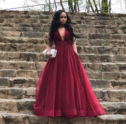 Deep V Neck Prom Evening Dresses Cheap A Line Organza Wine Red Party Gowns For Black Girls Women Beaded Sequin Long Cheap Formal Dress