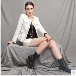 Wholesale white wool blend coat - New fashion spring autumn women's retro elegant OL beading sequined long sleeve tweed woolen short coat plus size SMLXLXXL