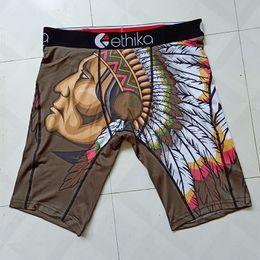 Wholesale men s cotton boxer shorts - Indian buffalo Gyro Peacock print Quick dryinge Cotton Ethika boxers men cuecas boxers de marca boxer shorts men underwear long leg boxer