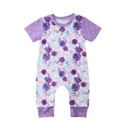 75f2c8a3f89 2018 Summer kid girl clothes baby romper short sleeve jumpsuit floral dot  purple onesies girls clothing toddler outfits vetement bebe 0-24M
