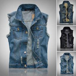 abdcd2847ab Jacket Biker Cool Jean Hole Men s Vintage Shirt Vest Sleeveless Mens Denim  Coat Spring and Autumn Korean Slim casual top S-6XL Plus Siz