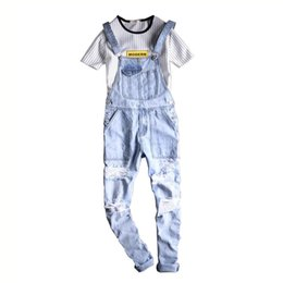 bc5c4806900 Chinese MORUANCLE Fashion Men  039 s Destroyed Jeans Bib Overalls Ripped  Cargo Denim Jumpsuits