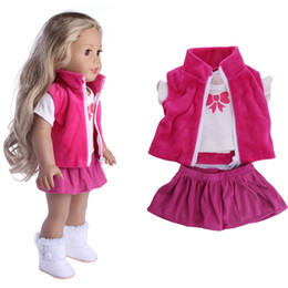 Wholesale Zapf Dolls - 3 Items A Set 18 Inch American Girl Doll Clothes Jeans Coat +skit +white Shirt for 43cm Zapf Baby Dolls Suit Wear