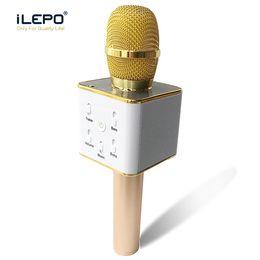 2019 meilleurs microphones à fil Karaoke Q7 Handheld Microphone Bluetooth Sans Fil KTV avec Haut-Parleur Mic Microfono Portable Haut-Parleur Portable Karaoke Player pour Smartphone