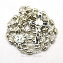 Wholesale rosary saints - High Quality Rosary Necklace Oval Cross Bead 5*8 mm Saint Benedict Rosary Center Crucifix