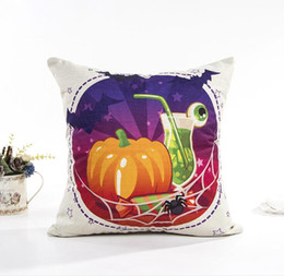 Wholesale Happy Hotels - Halloween series pillowcase Simple fashion sofa cushion cover Flax digital printed Happy Halloween style pillow case
