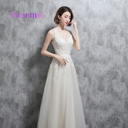 Wholesale satin robes for bridesmaids - Real Samples 2018 Scoop Prom Dresses Robe de Soiree Appliques Embellishment Formal Evening Gowns For Party Dress