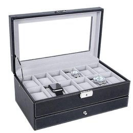 Wholesale 12 Decks - OUNONA Wooden 12 Slots Double-Deck Watch Case Storage Organizer Box Luxury Jewelry Ring Display Watch Boxes Black