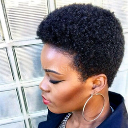 Wholesale Kinky Natural Black Hair Wigs - Short Pixie Hair Human Wig None Lace Brazilian Hair afro kinky curl Glueless Lace Front Human Hair Wigs