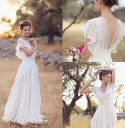 Wholesale pregnant brides dresses - Bohemian Hippie Style Wedding Dresses 2018 Beach A-line Wedding Dress Maternity Pregnant Bridal Gowns Backless White Lace Chiffon Boho Bride