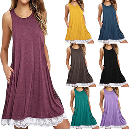 Wholesale Trumpet Midi Dress - Women Casual Sleeveless Midi Lace Dress Round Neck Above Knee Loose Lacework Solid Color Hot LJJN20