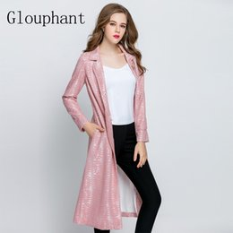 Wholesale Trench Coat For Women Pink - Glouphant 2017 Autumn Lace Embroidered Long Trench Coat for Women Belt Ladies Coats Flowers Women's Coat Winter Casaco Feminino