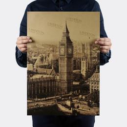 Tour Elizabeth / Londres Big Ben / Conception de la vue célèbre / Papier kraft / Autocollants muraux / Affiche rétro bar / Peinture décorative 51x35.5cm ? partir de fabricateur