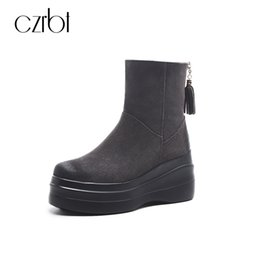 Wholesale wedges boots open toe - CZRBT Winter Warm Wool Snow Boots Women Cow Suede Leather Wedges Heel Mid-Calf Snow Boots Round Toe Fringe Genuine Leather