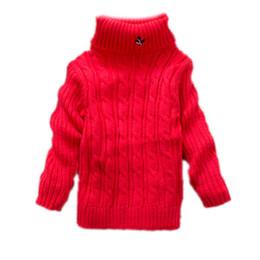Canada Garçons Filles Cardigan Pull 2017 Hiver Automne Couleur Unie Bébé Garçon Fille Chandail infantile à Col Roulé Tricoté Pull Survêtement cheap infant girls cardigan Offre