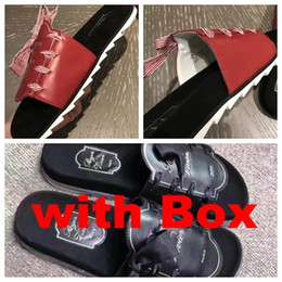 Wholesale Bowtie Sandals - Comfortable++ Original Leather Quality Sandals Roger Brand Bowknot Design Slippers Causal Slide Huaraches Flip Flops Loafers
