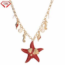 67be45cfdb08 HX Nueva Aleación Ocean Series Collar Estrella de Mar Conch Seahorse  Colgante Collar de Perlas Moda Señora Suéter Cadena Charm Regalo de La  Joyería