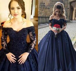 Wholesale Lace Up Corset Prom Dresses - 2018 Navy Blue Quinceanera Ball Gown Dresses Off Shoulder 3D Flower Lace Applique Sweep Train Satin Corset Plus Size Prom Evening Gowns Wear