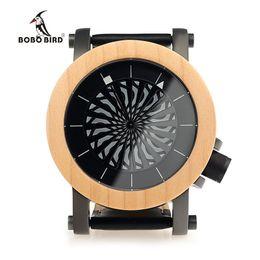 Wholesale Bird Mechanical - BOBO BIRD Mens Wooden Mechanical Watches TOP Luxury Handmade Wood Watch Leather Strap Wristwatches relogio masculino C-M07
