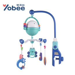 Wholesale teether rattle set - Yobee Musical Rotate Crib Mobile Bed Thick Bracket Bell Star Projecting Baby Rattle Toys with 5 teether rattles for Newborn Kids