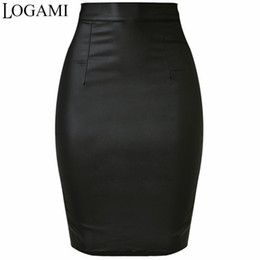f645167aac5 LOGAMI Women Faux Leather Skirt Pencil High Waist Skirts Womens Skirt Black Midi  Saia Couro Jupe Simili Cuir